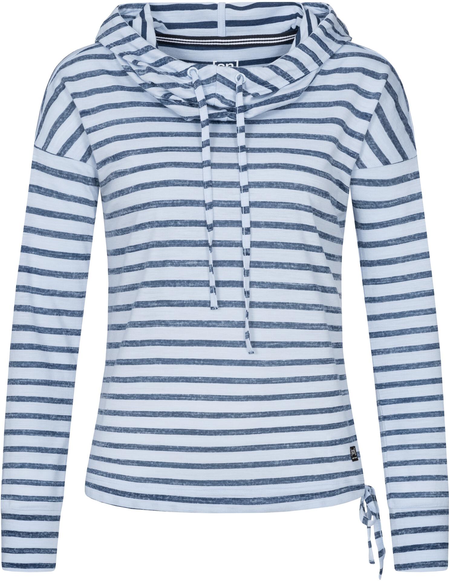 super.natural Funnel Printed Felpa Donna, fine stripe print skyway/navy blazer su Addnature Kg4f6